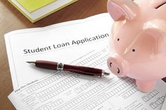 Student loan application form royalty free stock images