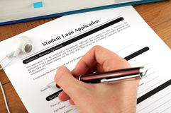 Student Loan Application Signing stock photography