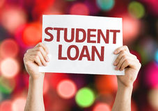 Student Loan card with bokeh background Royalty Free Stock Photos
