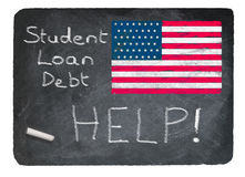 Student loan concept using chalk on slate blackboard Stock Images