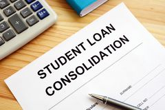 Student Loan Consolidation application and pen stock photography