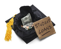 Student Loan Debt. Graduation Cap with Moeny and Student Loan Sign Isolated on White Background royalty free stock image
