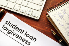 Student loan forgiveness. Document with title student loan forgiveness Stock Images