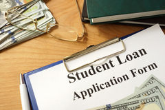 Student loan form with dollars. Stock Image