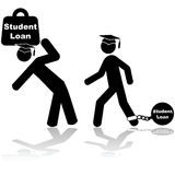 Student loan. Icon illustration showing a couple of students carrying a heavy burden of student loans Stock Photo