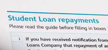 Student loan. Repayments on a tax form stock photo