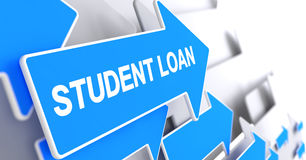 Student Loan - Text on Blue Arrow. 3D. Student Loan, Inscription on Blue Pointer. Student Loan - Blue Arrow with a Label Indicates the Direction of Movement. 3D Stock Photo