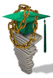 Student loans. Pile of Dollar bills with mortar board and gold chain on top. Concept image of student loan repayments Royalty Free Stock Photo