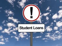 Student loans warning sign. With blue sky and cloudscape background Royalty Free Stock Photo