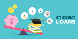 Free Student Loans With Piggybank And Books Illustration Royalty Free Stock Images - 96291579