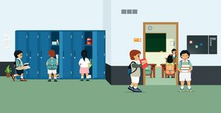 Student Locker. Classrooms with student lockers and students bringing books out of the locker stock illustration