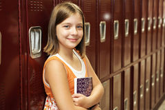 Student by Lockers Royalty Free Stock Photography