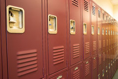 Student Lockers University School Campus Hallway Storage Locker. A row of locked starage lockers horizontal composition stock photography