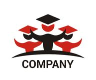 Student logo design 2. Red and black uniform student graduate from education university school design logo illustration Stock Photos