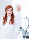 Student look in a chemistry lab Stock Photos