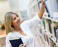 Student looking for a book Stock Photo