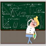 Student looking at chalkboard. 3D. Student looking at chalkboard . 3D Isolate. Easy background remove. Easy color change. Easy combine Royalty Free Stock Photos