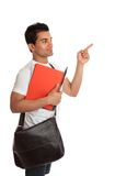 Student looking pointing to your message royalty free stock images
