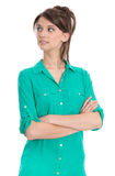 Student looking sideways with crossed arms. Stock Photography
