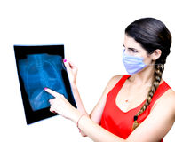 Student looking at an x ray image Stock Images