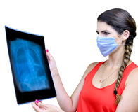 Student looking at an x ray image Stock Photo