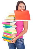 Student with lot of book in hands Royalty Free Stock Image
