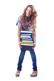 Student with lots of books Royalty Free Stock Image