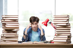 The student with lots of books preparing for exams Stock Photography