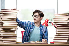 The student with lots of books preparing for exams Royalty Free Stock Image
