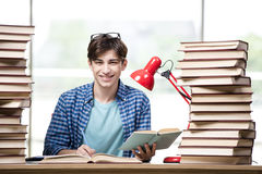 The student with lots of books preparing for exams Stock Images