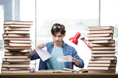 The student with lots of books preparing for exams Royalty Free Stock Images