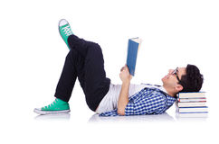 Student with lots of books Royalty Free Stock Photography