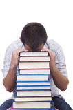 Student with lots of books Royalty Free Stock Photo