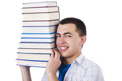 Student with lots of books Stock Images