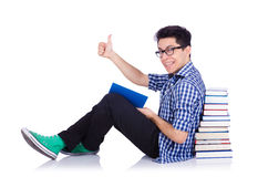 Student with lots of books Stock Photos