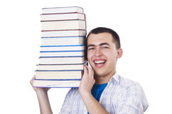 Student with lots of books Stock Photography