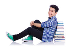 Student with lots of books Stock Photo