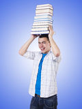 Student with lots of books on white Stock Photography