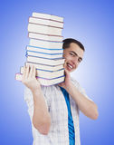 Student with lots of books on white Stock Photos
