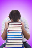 The student with lots of books on white Royalty Free Stock Photography