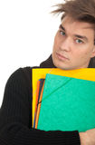 Student man with note pad Royalty Free Stock Photo