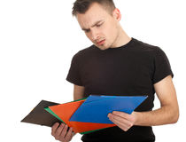 Student man with note pad Stock Photography