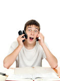 Student with Many Phones Royalty Free Stock Image