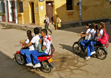Student mass transport on motorcycles Royalty Free Stock Photo