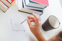 Student with math chart. Math student analyzing chart, hard studying Royalty Free Stock Images