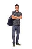 Student med den isolerade ryggsäcken Royaltyfri Bild