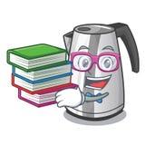 Student med kokkärlet för elkraft för kök för hushåll för bokmaskottecknad film royaltyfri illustrationer