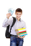 Student med pengar royaltyfria foton