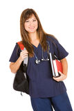 Student: Medical Student With Books and Backpack Stock Image