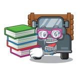 Student met boek miniatuur oude vrachtwagen als karaktervoorzitter royalty-vrije illustratie